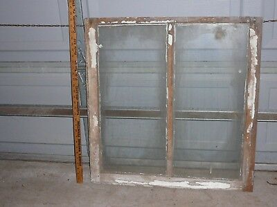 NICE! Old Wood Window Sash 2 Glass Panes 28x29.Vintage Antique Craft Photo Frame