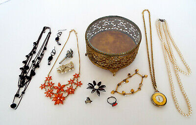Vintage Footed Rose Filigree Box Esate Jewelry Lot Watch Necklace Brooches LC