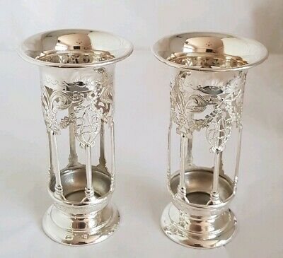 Edwardian sterling silver vase stands .Of Neo-classical form. Birmingham 1907