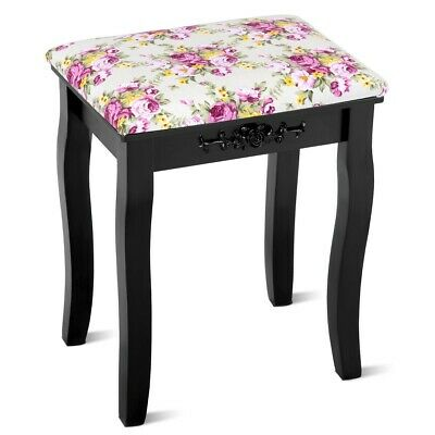 Black Cushioned Vanity Makeup Dressing Stool Seat Wood Bench Chair Rose Padded