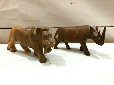 Set of Two Hand Carved Vintage Wood Figurines Lion and Rhino Small Decorative