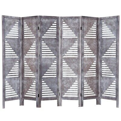 Gray 6 Panel Wood Folding Freestanding Room Screen Divider Triangle Slats Panels
