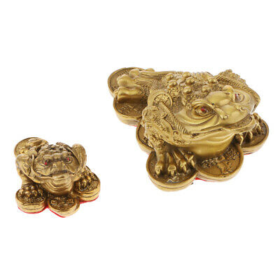 2x Lucky Money 3-Leg Coin Toad Frog Fortune Feng Shui Decorative Ornament