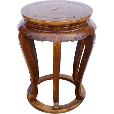Antique Chinese Late Qing Elm Round 6-Leg Pedestal / Plant Stand