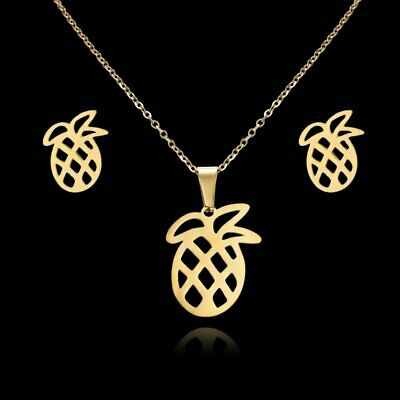 Women Stainless Steel Pineapple Hollow Pendant Necklace Earrings Jewelry Set