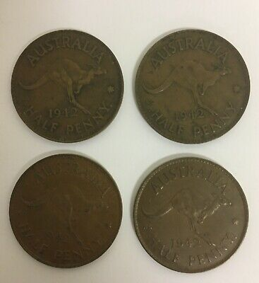 x4 COMMONWEALTH OF AUSTRALIA HALF PENNY COINS - x4 1942