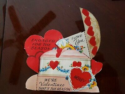 Vintage Valentine Greeting Card Diecut Engaged diamond ring fold out 1950s