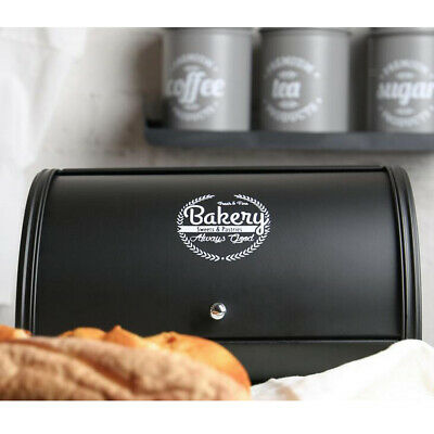 Bread Bin Kitchen Storage Loaf Box Sweets Cake Container Canister Tin Black