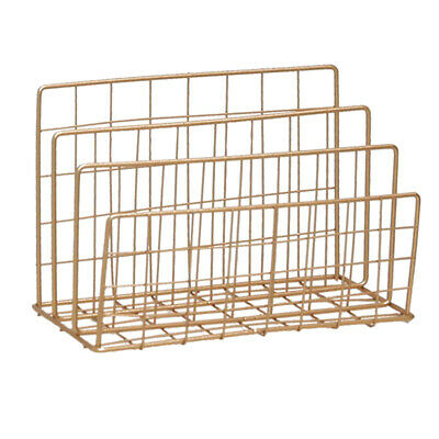 Metal Desk Book Holder Modern Art Bookshelf Rack Home Office Decor Golden