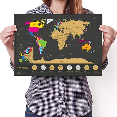 7 Wonders Scratchable World Map - A3 Travel Edition - Personalised Travel Poster