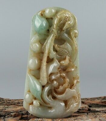 Chinese Exquisite Hand-carved Flower and bird Carving jadeite jade Pendant