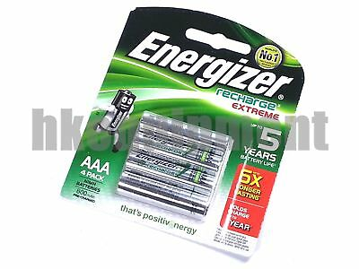 Energizer extreme Rechargeable AAA LR3 800mAh NiMH 1.2v Battery x4 MADE IN JAPAN