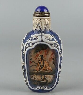 Chinese Exquisite Handmade Inside painting figure pattern Glass snuff bottle