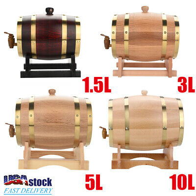 1.5L/3L/5L/10L Vintage Oak Timber Wine Barrel for Beer Whiskey Rum Port Wood Keg