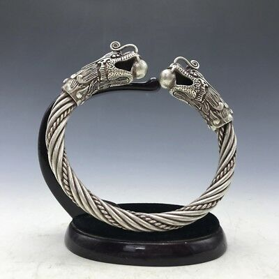 Old China's Miao silver Handmade twist-style creative Dragon Bracelet   a167