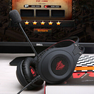 USB Wired Gaming Headset Over-Ear Stereo PC Headphones Earphone With Mic U6L6