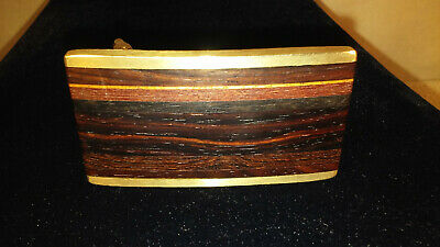 Vtg. 1970's  Kenneth Reid Exotic Wood Inlay Stripes Art Brass Belt Buckle-Exc!