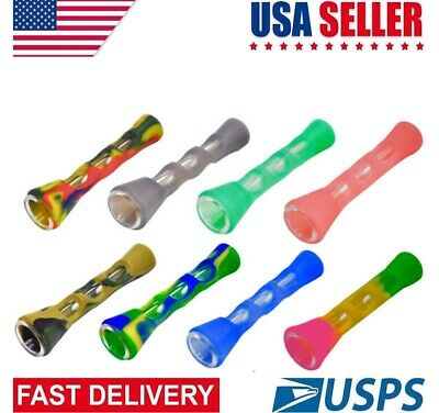 HORNET Horn Shape FDA Silicone Glass Smoking  Pipe 20MM One Hitter Dugout