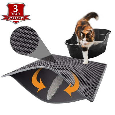Pieviev Cat Litter Mat Litter Tray Mat of Large Size 30'' x 24'' Double Layer on