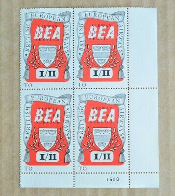 Block Of 4 BEA Airways Letter Service 1/11 Cinderella Stamps MUH