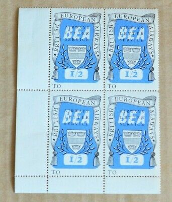 Block Of 4 BEA Airways Letter Service 1/2 Cinderella Stamps MUH
