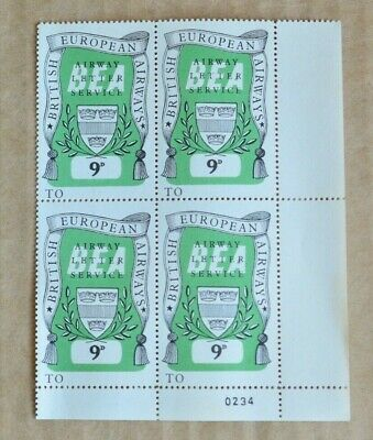 Block Of 4 BEA Airways Letter Service 9d Cinderella Stamps MUH