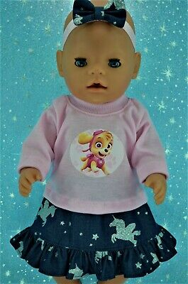 """Play n Wear Doll Clothes To Fit 17"""" Baby Born PATTERN DENIM SKIRT~TOP~HEADBAND"""