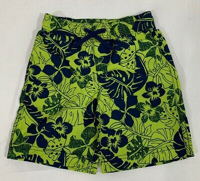 Lands End Boys Swim Trunks Lime Green Blue New In Package Size 4