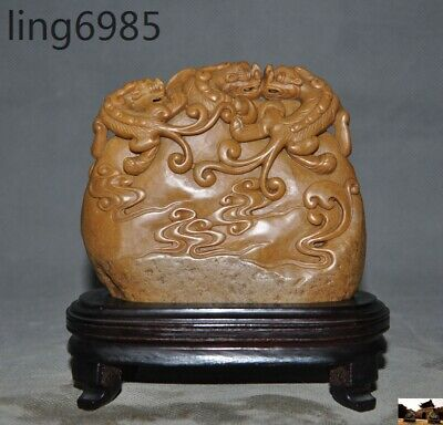 Rare China Tianhuang Shoushan stone hand carved Brave troops Pixiu beast Statue