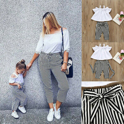 Kids Baby Girl Lace Up Halter Striped Shirt Tops+Pants Trousers Outfit Cloth Set