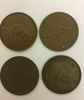 x4 COMMONWEALTH OF AUSTRALIA ONE PENNY COINS - 1940, 1941, 1942, 1943