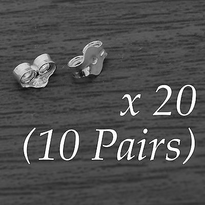20x 925 Sterling Silver Butterfly Earring Backs Friction Scrolls 0.8mm 10 Pairs