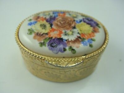 Vintage Italy Porcelain Flower Top Mini Gold Tone Oval Trinket Box
