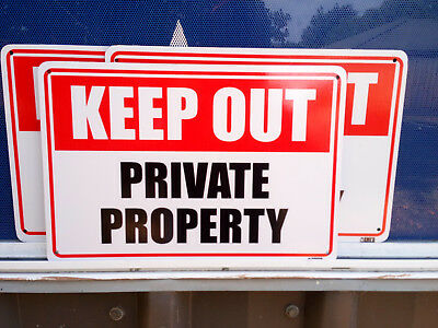 Keep Out Private Property Pack 3 Metal Safety Sign 300x225mm Fast Delivery