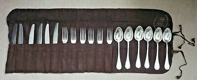 Vintage 18 Piece Christofle Silver Plated Cutlery Set In Roll Up  Protector