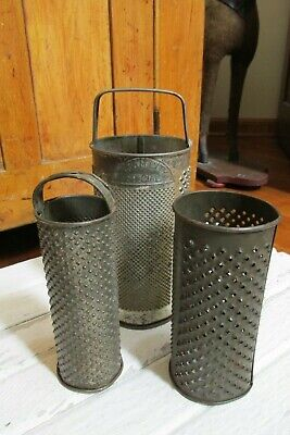 Three (3) Antique Vintage Graters, Country, Farm, Primitive
