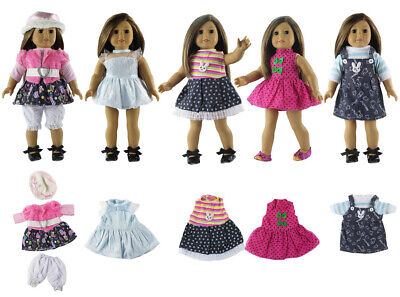 Hot 5 Set Handmade Doll Clothes Outfit for 18 inch American Doll Dress Skirt