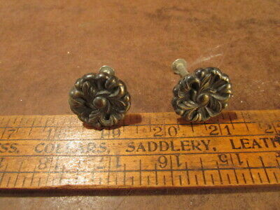 2 Vintage brass Door pulls Knob dresser drawer ornate decor