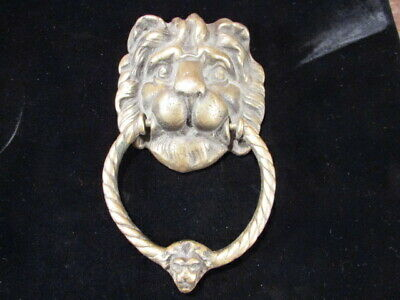 Original Vintage Large double Lion head Door Knocker solid brass or Bronze