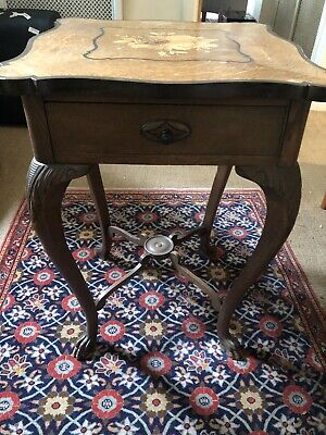 Antique German Oak and Marquetry Square Occasional Table. Late 19th Century.