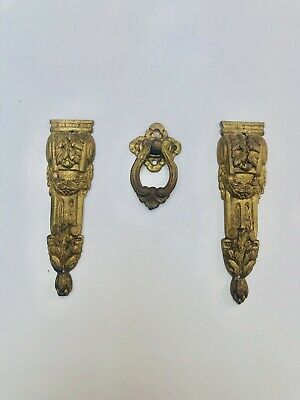 Pair Of Antique French Ormolu Garnitures And Drawer Handle