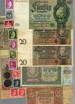 Nazi Germany & Occupied Europe Banknote, Coin And Stamp Set  # 109