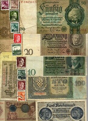 Nazi Germany And Occupied Europe Banknote, Coin And Stamp Set # 125