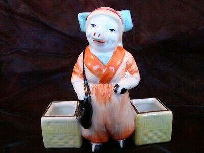 Mustard pot Salt Pepper Figurine Pig Schoolgirl Art Deco-German Style Art Nouvea
