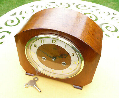 Vintage restored 1954 Smiths / Enfield striking mantle clock  with brass key
