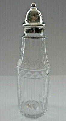 Early Victorian Hallmarked Silver Top And Blown Glass Sugar Sifter