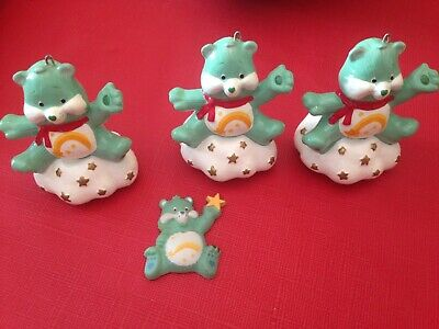 Vintage & Rare Care Bear 1984 Wish Bear Christmas Ornament Set Of 3 Plus Magnet