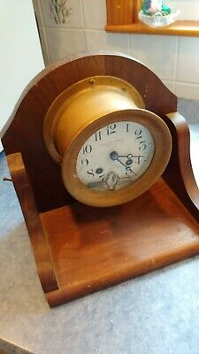 Ships Bell Chas C Hutchinson Boston Chelsea Clock with Key and Stand