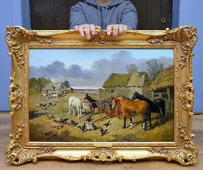 Fine Antique 19thC Landscape Oil Painting of English Farmyard Horses JF Herring