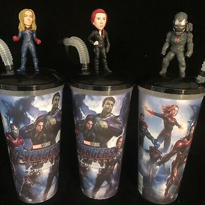 AVENGERS End Game Figure Movie Cinema 0.5L Drinks Cups SET OF 3 Toppers RARE